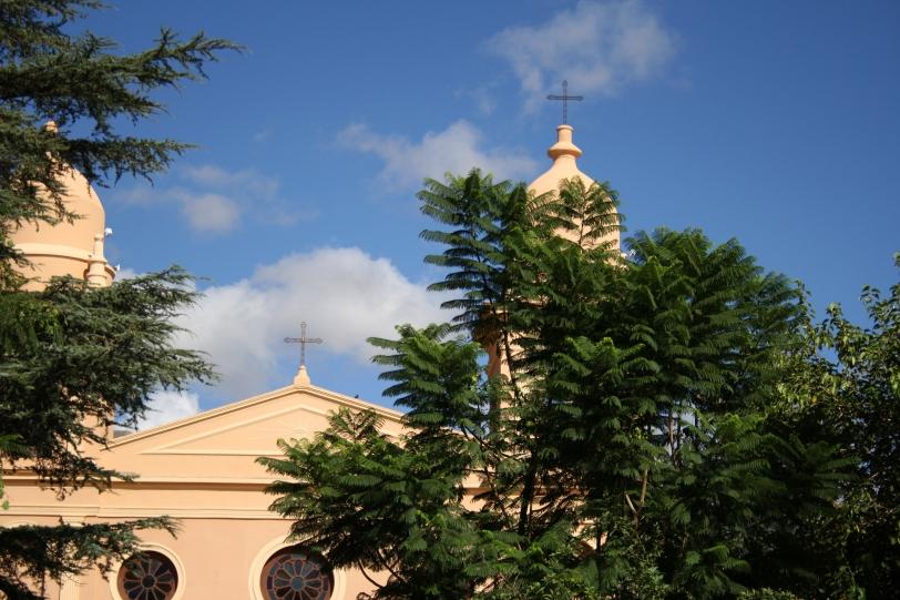 La catedral de Cafayate entre la vegetación de su plaza. Foto: Sara Gordón