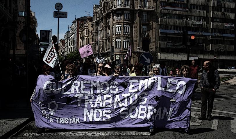"""Manifestación del 1º de mayo en León, """"QUEREMOS EMPLEO, LOS TRABAJOS NOS SOBRAN."""" Foto: Sara Gordón"""