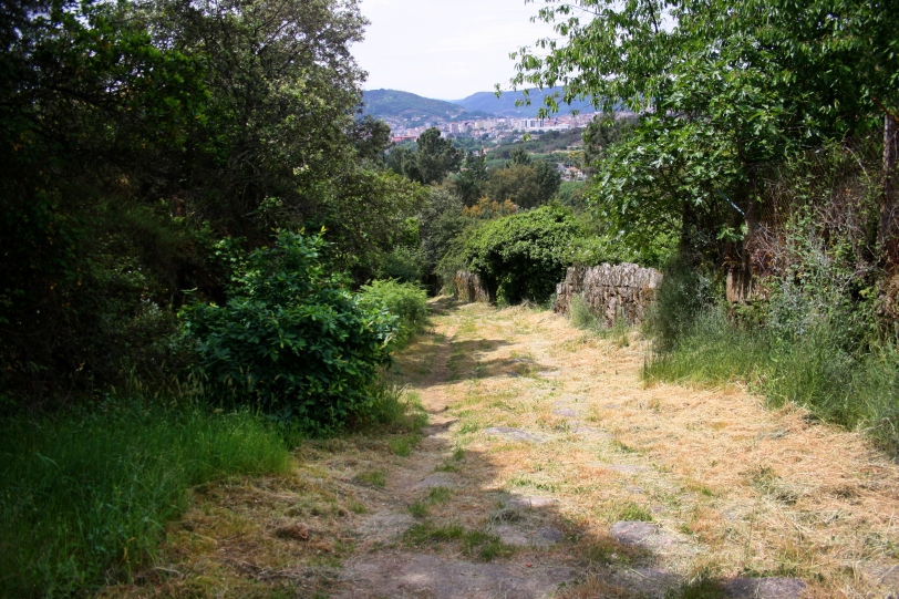 La vía romana que conduce al castro de Santomé.