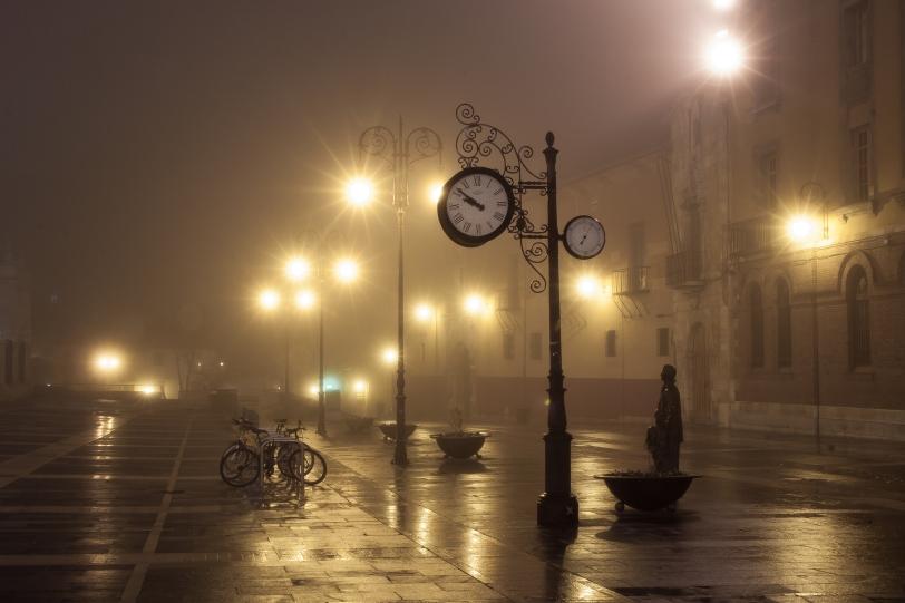 León una noche de niebla. Foto: Sara Gordón
